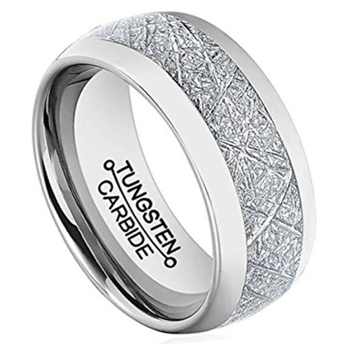 Image of 8mm - Unisex or Men's Wedding Band. Silver Tone Domed Tungsten Carbide Ring Inspired Meteorite Wedding Band Comfort Fit