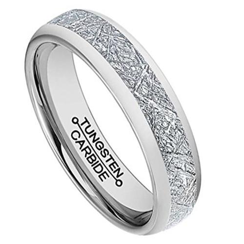 6mm Unisex or Womens Tungsten Wedding Band Silver Inspired