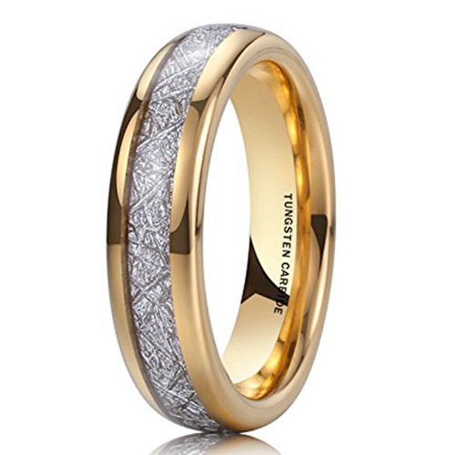 Image of 6mm - Unisex or Women's Wedding Band. 14K Gold Plated Domed Tungsten Carbide Ring Inspired Meteorite Wedding Band Comfort Fit