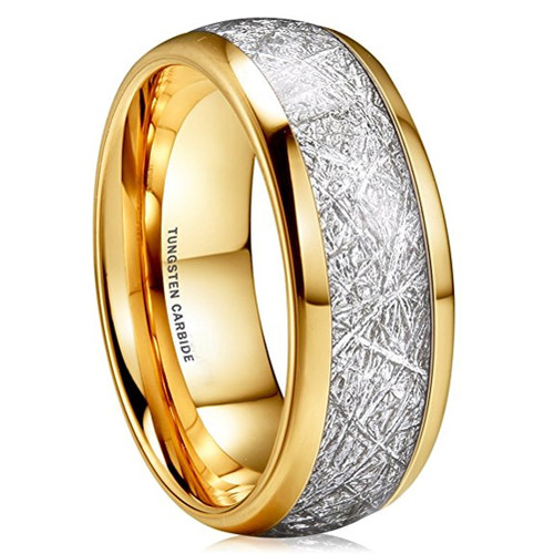 Image of 8mm - Unisex or Men's Wedding Band. 14K Gold Plated Domed Tungsten Carbide Ring Inspired Meteorite Wedding Band Comfort Fit