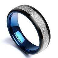 7mm - Unisex, Women's or Men's Tungsten Wedding Band. Outer Black Tone Inner Blue Domed Tungsten Carbide Ring Inspired Meteorite Wedding Band