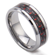 8mm - Unisex or Men's Tungsten Wedding Bands. Silver Ring with Red Carbon Fiber Inlay