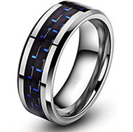 8mm - Unisex or Men's Tungsten Wedding Bands. Silver Ring with Blue Carbon Fiber Inlay