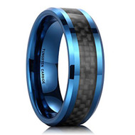 8mm - Unisex or Men's Tungsten Wedding Band. Blue Ring with Black Carbon Fiber Inlay