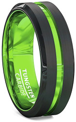 8mm - Unisex or Men's Tungsten Wedding Band. Black Matte Finish Tungsten Carbide Ring with Green Beveled Edge