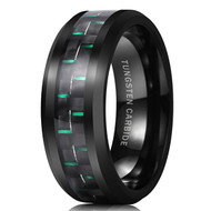 8mm - Unisex or Men's Tungsten Wedding Bands. Black Ring with Green Carbon Fiber Inlay