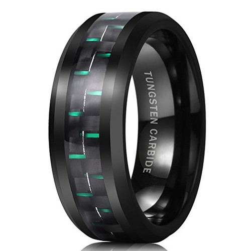 Image of 8mm - Unisex or Men's Wedding Bands. Mens Tungsten Ring Wedding Band. Mens Wedding Rings Black and Green Carbon Fiber Inlay