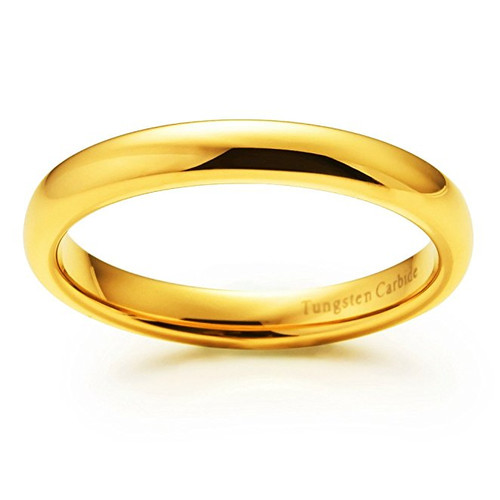 Image of 3mm - Unisex or Women's Wedding Band. Tungsten Wedding Band Ring. Comfort Fit 18K Yellow Gold Plated Domed Polished