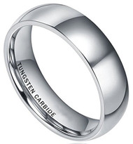 6mm - Unisex, Men's or Women's Tungsten Wedding Band. Silver Tone Domed Polished Tungsten Carbide Ring