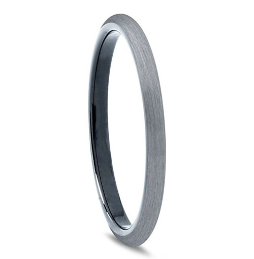 Image of 2mm - Unisex or Women's Tungsten Rings. Wedding Band Gray and Black Plated Comfort Fit Brushed. Women's Wedding Bands.