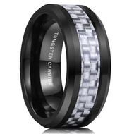 8mm - Unisex or Men's Tungsten Wedding Band. Black Ring with White and Silver Carbon Fiber Inlay