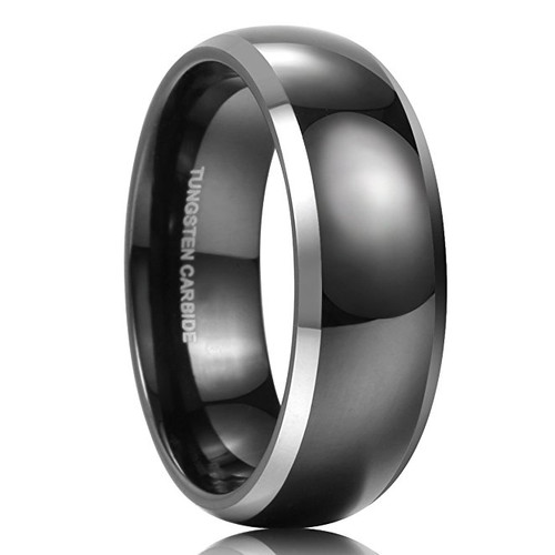 Image of 8mm - Unisex or Men's Wedding Bands. Mens Wedding Rings Black Tungsten Ring. Domed Two Tone Silver Side Stripes High Polish Comfort Fit Wedding Band