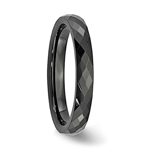 Image of 4mm - Unisex or Women's Tungsten Rings. Wedding Band - Black Diamond Faceted High Polished Domed Tungsten Carbide Ring Wedding Band. Women's Wedding Bands.