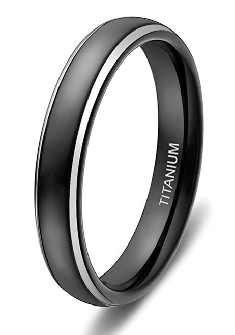 4mm Womens Titanium Wedding Bands Black Ring with Two Tone