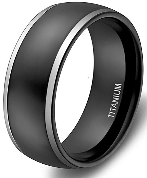 Image of 8mm - Unisex or Men's Wedding Bands. Mens Wedding Rings Black Titanium Ring. Two Tone Silver Side Stripes High Polish Finish. Comfort Fit Light Weight Wedding Band
