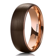 8mm - Unisex or Men's Tungsten Wedding Band. Brown Matte Finish with Inside Rose Gold. Tungsten Carbide Ring with Dome Top.