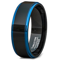 8mm - Unisex or Men's Tungsten Wedding Bands. Black Ring with Two Tone Blue Side Stripes High Polish Comfort Fit