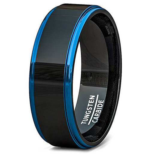 Image of 8mm - Unisex or Men's Wedding Bands. Mens Wedding Rings Black Tungsten Ring. Two Tone Blue Side Stripes High Polish Comfort Fit
