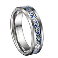 6mm - Unisex or Women's Wedding Band. Silver and Blue Resin Inlay Celtic Knot Tungsten Carbide Ring