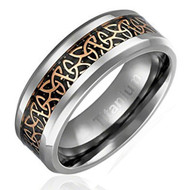 8mm - Unisex or Men's Titanium Wedding Band. Irish Triquetra Ring. Black and Gold Celtic Knot Carbon Fiber Inlay