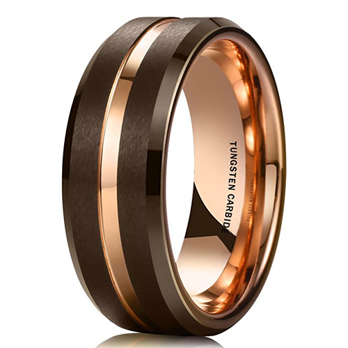 Image of 8mm - Unisex or Men's Wedding Band. Mens Wedding Rings Brown Matte Finish Tungsten Carbide Ring with Rose Gold Beveled Edge Men's Wedding Band