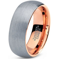 7mm - Unisex or Men's Tungsten Wedding Band. Gray and Rose Gold Round Domed Brushed. Comfort Fit Wedding Rings