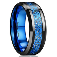 8mm - Unisex or Men's Tungsten Wedding Band. Mens Celtic Wedding Bands Black with Inner Blue Tone and Blue Resin Inlay Celtic Knot Tungsten Carbide Ring