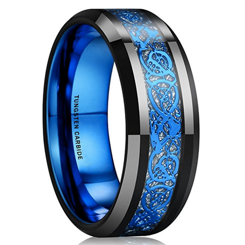 8mm – Unisex or Men's Wedding Band. Mens Wedding Rings Black with Inner Blue Tone and Blue Resin Inlay Celtic Knot Tungsten Carbide Ring