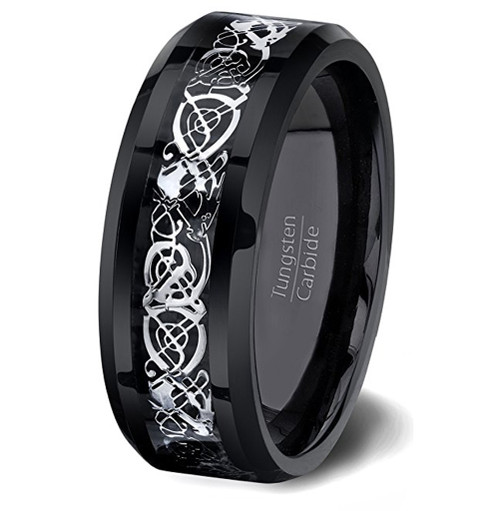 8mm Unisex or Mens Tungsten Wedding Band Black with Silver