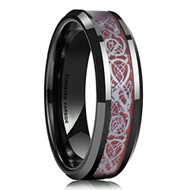 6mm - Unisex or Women's Wedding Band. Celtic Wedding Bands. Black with Red Resin Inlay Celtic Knot Tungsten Carbide Ring