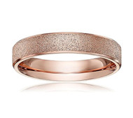 4mm - Women's Titanium Wedding Band. Rose Gold Sand Blasted Glittery Finish Titanium Ring with Flat Edge