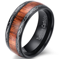 8mm - Unisex or Men's Tungsten Wedding Bands. Koa Wood and Tribal Design. Black Plated Tungsten with Dark Wood Inlay. Domed Top