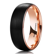 8mm - Unisex or Men's Tungsten Wedding Band. Black Matte Finish Tungsten Carbide Ring with Inside Rose Gold Dome Edge