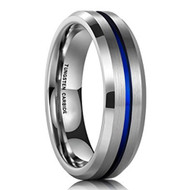 6mm - Unisex or Women's Tungsten Wedding Band. Silver and Blue Tone Matte Finish Tungsten Carbide Ring. Beveled Edges