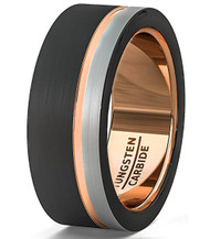 8mm - Unisex or Men's Tungsten Wedding Band. Triple Tone Black, Gray and Rose Gold Tone Striped Pattern. Tungsten Ring Comfort Fit
