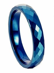 4mm - Unisex, Men's or Women's Tungsten Wedding Bands. Blue Diamond Faceted High Polished Domed Tungsten Carbide Ring