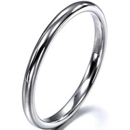 2mm - Unisex or Women's Tungsten Wedding Bands. Silver Tone Comfort Fit Domed Polished Ring