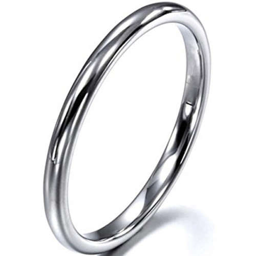 Image of 2mm - Unisex or Women's Wedding Band. Tungsten Wedding Band Ring. Comfort Fit Silver Tone Domed Polished
