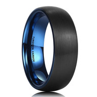 7mm - Unisex or Men's Tungsten Wedding Band. Black Matte Finish with Inside Blue Tungsten Carbide Ring Dome Edged.