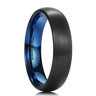 5mm - Unisex or Women's Wedding Band. Womens Wedding Rings Black Matte Finish Tungsten Carbide Ring with Inside Blue Dome Edged. Women's Wedding Band