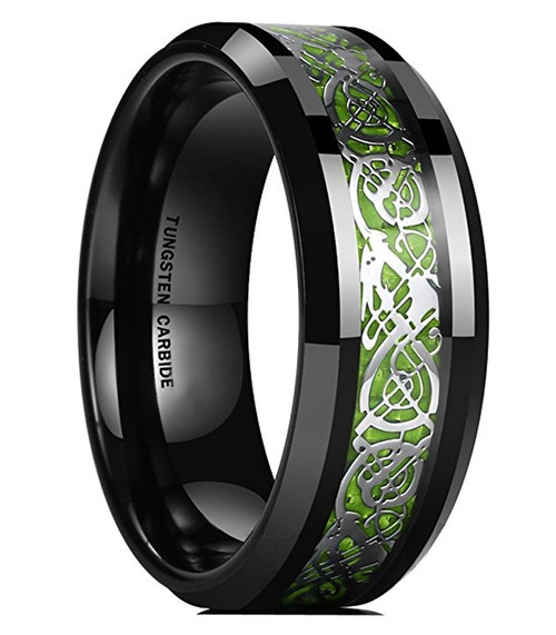 8mm Unisex or Mens Tungsten Wedding Band Celtic Wedding Band