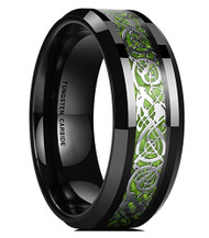 8mm - Unisex or Men's Tungsten Wedding Band. Celtic Wedding Band. Black Resin Inlay Silver and Bright Green Celtic Knot Ring