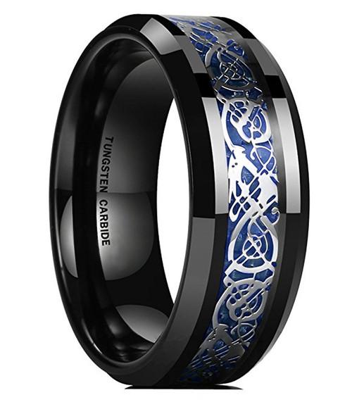 8mm Unisex or Mens Tungsten Wedding Band Celtic Mens Wedding