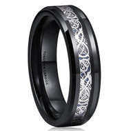 6mm - Unisex or Women's Tungsten Wedding Band. Celtic Wedding Band Black with Silver and Blue Resin Inlay. Celtic Knot Tungsten Carbide Ring