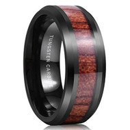 8mm - Unisex or Men's Tungsten Wedding Bands. Black with High Polish Dark Wood Inlay and Beveled Edges