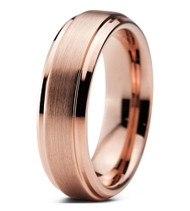 6mm - Unisex or Women's Tungsten Wedding Bands - Rose Gold Tungsten Carbide. High Polish Sides and Matte Finish Top. Comfort Fit.