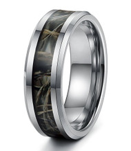 8mm - Unisex or Men's Tungsten Wedding Band. Silver Tone with Green and Tan Camouflage Carbon Fiber Inlay