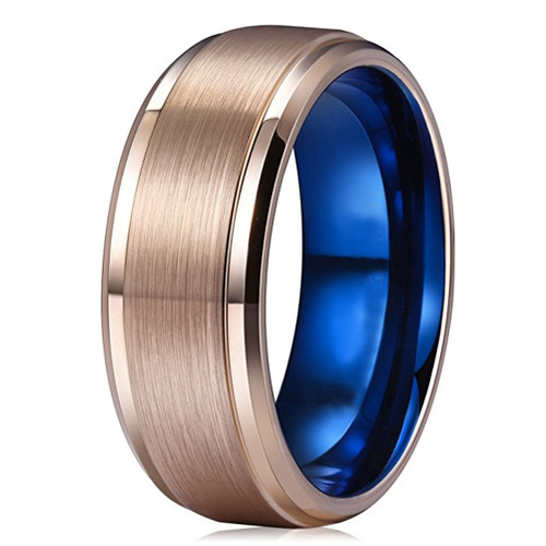 8mm Unisex or Mens Tungsten Wedding Bands Rose Gold with Inner