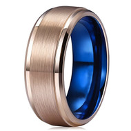 8mm - Unisex or Men's Tungsten Wedding Bands. Rose Gold with Inner Blue. Tungsten Carbide High Polish Sides and Matte Finish. Comfort Fit.