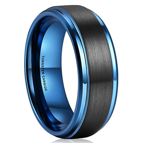 8mm Unisex or Mens Tungsten Wedding Bands Black and Blue